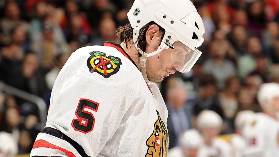 Brent Sopel, pictured as a member of the Chicago Blackhawks. (Photo by Noah Graham/NHLI via Getty Images)