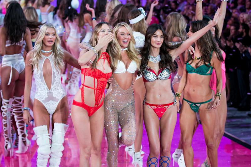 Supermodels on the Victoria's Secret Show runway