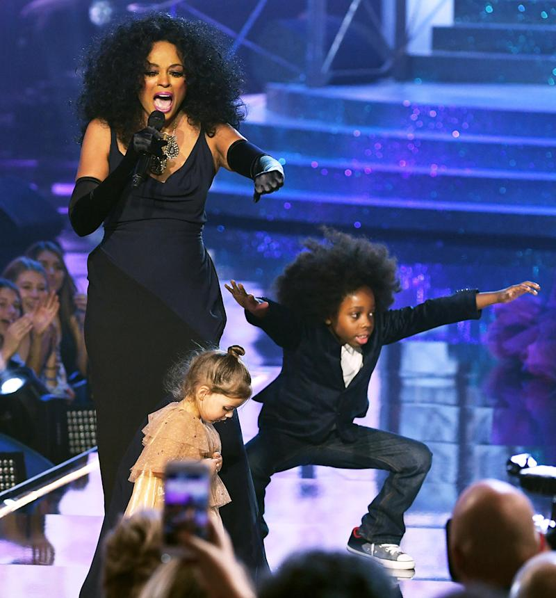 Diana Ross performs with her grandson