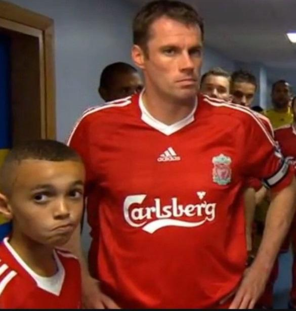 <p>The Liverpool defender is pictured here with Reds legend Jamie Carragher. </p>