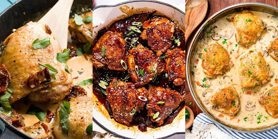 """<p>FACT: We're huge fans of <a href=""""https://www.delish.com/uk/cooking/recipes/g30242756/chicken-thigh-recipes/"""" rel=""""nofollow noopener"""" target=""""_blank"""" data-ylk=""""slk:chicken thighs"""" class=""""link rapid-noclick-resp"""">chicken thighs</a>. Why? Well, they're packed with flavour, easy to cook and cheap as chips to buy. Partner them up with a <a href=""""https://www.delish.com/uk/cooking/recipes/g35898884/one-pot-recipes/"""" rel=""""nofollow noopener"""" target=""""_blank"""" data-ylk=""""slk:one-pot recipe"""" class=""""link rapid-noclick-resp"""">one-pot recipe</a> and you're pretty much onto a winner (chicken dinner). With everything from <a href=""""https://www.delish.com/uk/cooking/recipes/a32694098/braised-chicken-thighs-recipe/"""" rel=""""nofollow noopener"""" target=""""_blank"""" data-ylk=""""slk:Braised Chicken Thighs"""" class=""""link rapid-noclick-resp"""">Braised Chicken Thighs</a> to <a href=""""https://www.delish.com/uk/cooking/recipes/a29794011/balsamic-basil-chicken-recipe/"""" rel=""""nofollow noopener"""" target=""""_blank"""" data-ylk=""""slk:Balsamic Basil Chicken"""" class=""""link rapid-noclick-resp"""">Balsamic Basil Chicken</a>, and <a href=""""https://www.delish.com/uk/cooking/recipes/a30959950/chicken-chow-mein-recipe/"""" rel=""""nofollow noopener"""" target=""""_blank"""" data-ylk=""""slk:Chicken Chow Mein"""" class=""""link rapid-noclick-resp"""">Chicken Chow Mein</a> to <a href=""""https://www.delish.com/uk/cooking/recipes/a30178181/easy-chicken-fricassee-recipe/"""" rel=""""nofollow noopener"""" target=""""_blank"""" data-ylk=""""slk:Chicken Fricassee"""" class=""""link rapid-noclick-resp"""">Chicken Fricassee</a>, there's plenty of one-pot chicken thigh recipes waiting patiently for you to give 'em a go! So, if you're looking for some one-pot inspiration, we've got you covered!</p><p>Not fussed on thighs? Check out our more general <a href=""""https://www.delish.com/uk/cooking/recipes/g35898949/one-pot-chicken-recipes/"""" rel=""""nofollow noopener"""" target=""""_blank"""" data-ylk=""""slk:One-Pot Chicken Recipes"""" class=""""link rapid-noclick-resp"""">One-Pot Chicken Recipes</a>. </p>"""