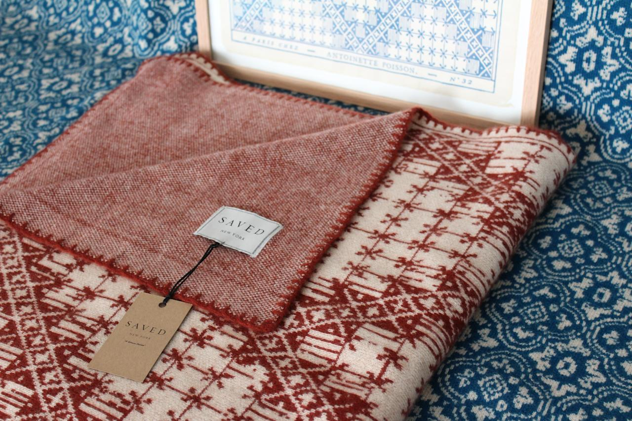 """Known for its printed domino wallpapers, <a rel=""""nofollow"""" href=""""https://www.antoinettepoisson.com/en/"""">Antoinette Poisson</a> has translated three of its patterns into cashmere blankets this year. It partnered with <a rel=""""nofollow"""" href=""""http://www.saved-ny.com/"""">SAVED</a> to produce the throws, which are available now."""