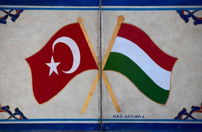 Turkish (L) and Hungarian flags at the Hungarian-Turkish friendship park near Szigetvar (AFP Photo/Attila Kisbenedek)