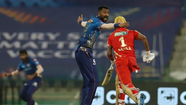 Krunal Pandya of Mumbai Indians successfully appeals for wicket of Mandeep Singh of Punjab Kings during match 42 of the Vivo Indian Premier League between the Mumbai Indians and the Punjab Kings held at the Sheikh Zayed Stadium, Abu Dhabi in the United Arab Emirates on the 28th September 2021 Photo by Faheem Hussain / Sportzpics for IPL