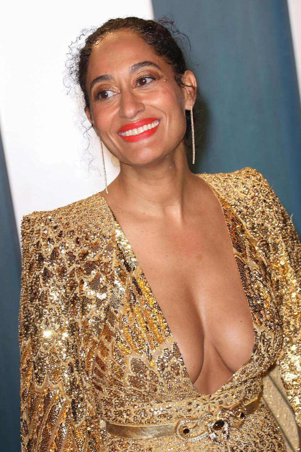 Tracee Ellis Ross is pictured at the 2020 Vanity Fair Oscar Party