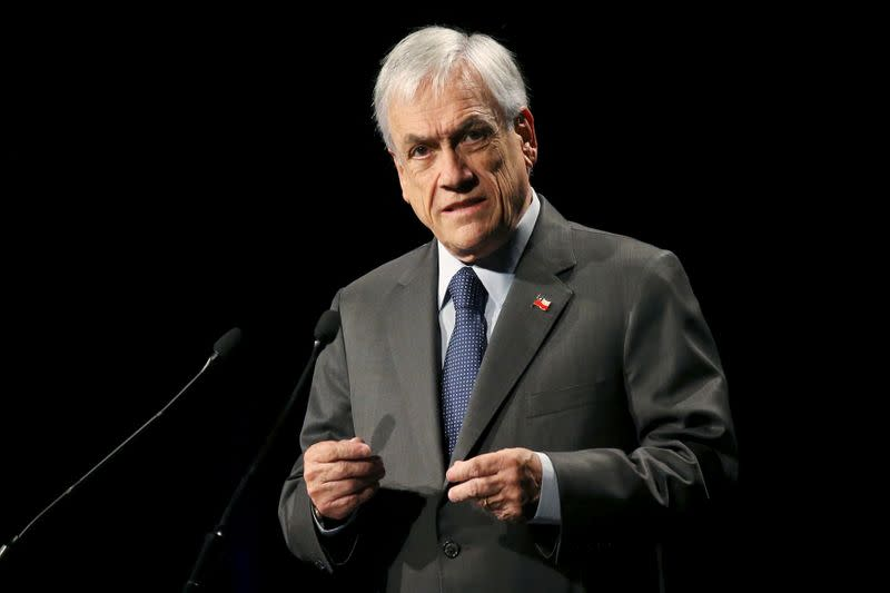 FILE PHOTO: Chile's President Sebastian Pinera delivers speech during the inauguration of ENADE in Santiago