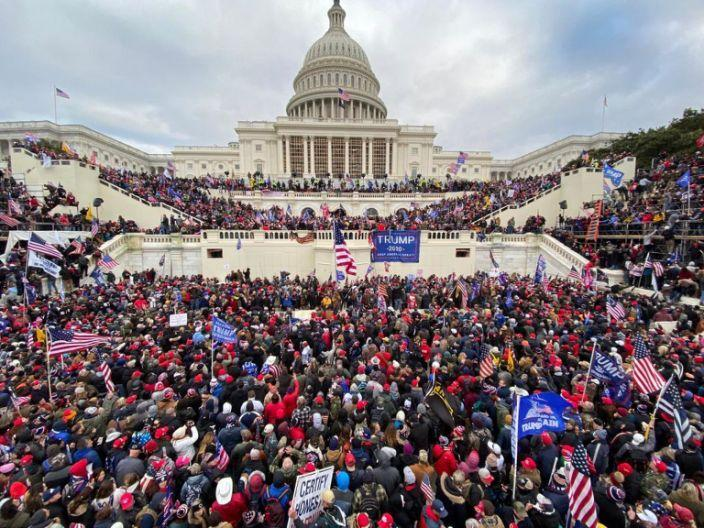 supporters gather outside the Capitol building