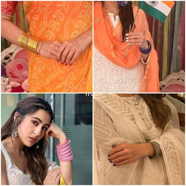 Speaking of accessories, she shows love for stacking up on bangles, albeit, just in one of her wrists while the other one stays free. Maybe you can add a watch to the empty arm and push in loads of glass bangles that go with your outfit for the day. <br>
