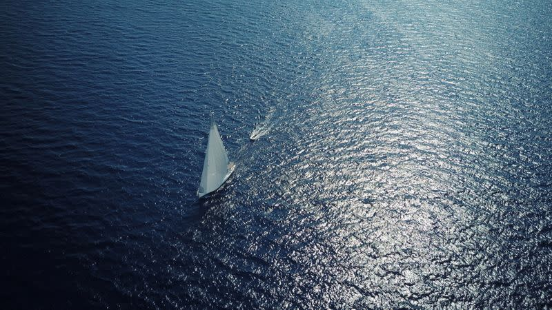 The Teatime sailing boat is seen in the Mediterranean Sea