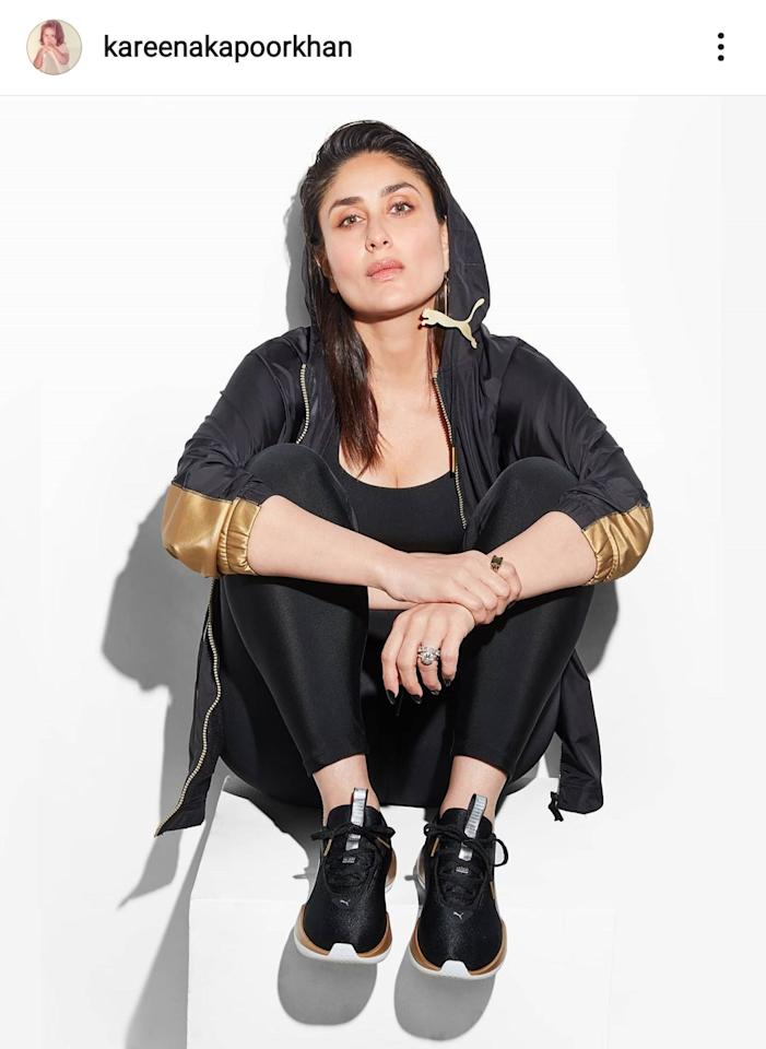 After a cryptic post of a moving cat, the cat was finally out of the bag. Dressed in black and gold sportswear, Kareena Kapoor Khan fashioned a statement Puma earring on one ear to attest her IG debut.