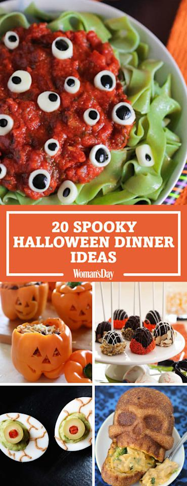 """<p>Save these spooky Halloween dinner ideas for later by pinning this image! Follow <em>Woman's Day</em> on <a rel=""""nofollow"""" href=""""https://www.pinterest.com/womansday/"""">Pinterest</a> for more delicious Halloween recipes. </p>"""