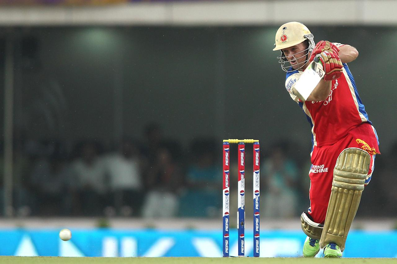 AB de Villiers of the Royal Challengers Bangalore drives a delivery during match 60 of the Pepsi Indian Premier League between The Kolkata Knight Riders and the Royal Challengers Bangalore held at the JSCA International Stadium Complex, Ranchi, India on the 12th May 2013..Photo by Shaun Roy-IPL-SPORTZPICS   ..Use of this image is subject to the terms and conditions as outlined by the BCCI. These terms can be found by following this link:..https://ec.yimg.com/ec?url=http%3a%2f%2fwww.sportzpics.co.za%2fimage%2fI0000SoRagM2cIEc&t=1495537838&sig=T0izR_7mnAyD2PFIXv659Q--~C