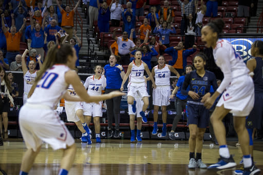 Boise State players begin to celebrate on the bench as the buzzer sounds on their 62-60 win over Nevada during the NCAA college basketball women's championship game in the Mountain West Conference tournament Friday, March 9, 2018, in Las Vegas. (AP Photo/L.E. Baskow)