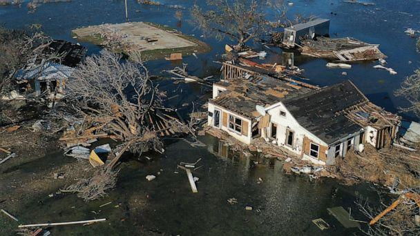 PHOTO: An aerial view of flood waters from Hurricane Delta surrounding structures destroyed by Hurricane Laura on Oct. 10, 2020, in Creole, Louisiana. (Mario Tama/Getty Images)