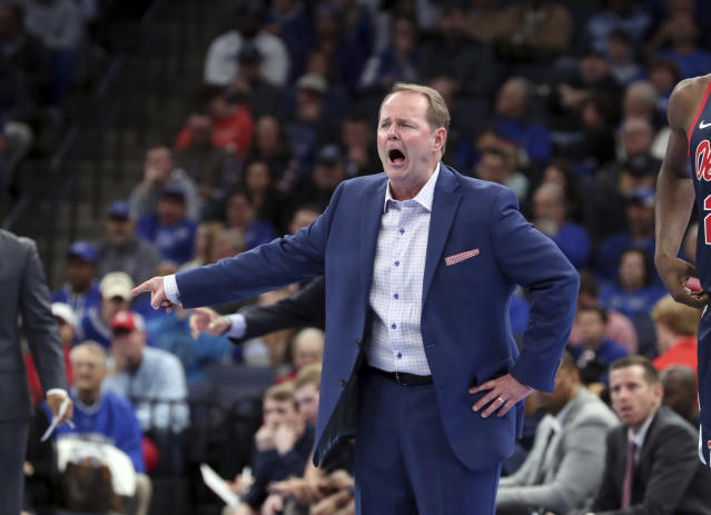 Mississippi Kermit Davis calls to his players in the first half of an NCAA college basketball game against Memphis, Saturday, Nov. 23, 2019, in Memphis, Tenn. (AP Photo/Karen Pulfer Focht)