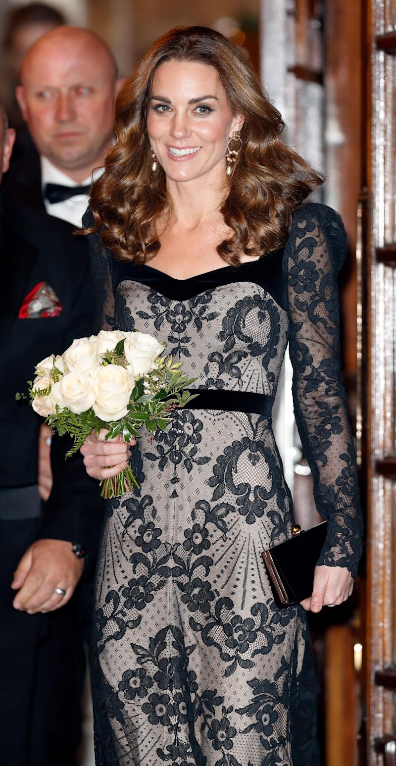 She wore this stunning lace gown, also byAlexander McQueen, one of her favourite designers, to the Royal Variety Performance at the Palladium Theatre in London.