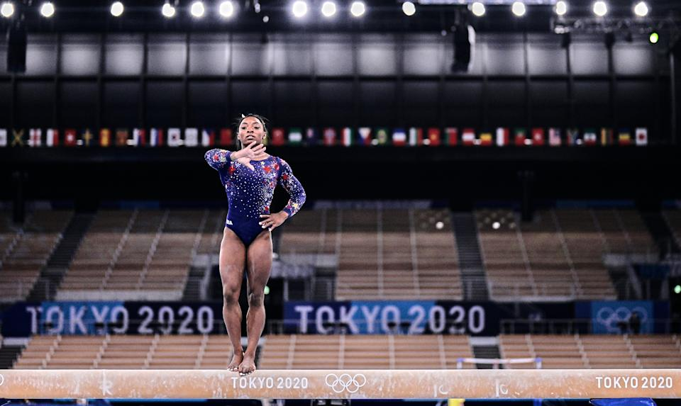 <p>Simone Biles of United States of America during women's qualification for the Artistic Gymnastics final at the Olympics at Ariake Gymnastics Centre, Tokyo, Japan on July 25, 2021. (Photo by Ulrik Pedersen/NurPhoto via Getty Images)</p>