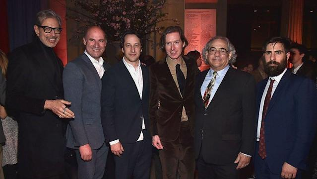 At the <em>Isle of Dogs</em> New York City premiere after-party, from left,  <span>Jeff Goldblum, Matthew Greenfield, David Greenbaum, Wes Anderson, Steve Gilula, and Jason Schwartzman. (Photo: Getty Images)<br> </span>