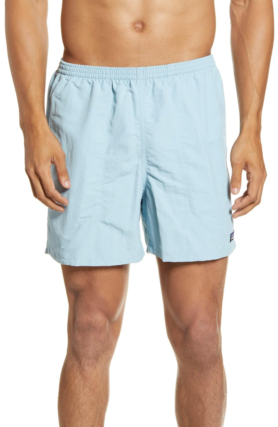 """<p><strong>PATAGONIA</strong></p><p>nordstrom.com</p><p><strong>$33.00</strong></p><p><a href=""""https://go.redirectingat.com?id=74968X1596630&url=https%3A%2F%2Fwww.nordstrom.com%2Fs%2Fpatagonia-baggies-5-inch-swim-trunks%2F6116277&sref=https%3A%2F%2Fwww.esquire.com%2Fstyle%2Fg36535194%2Fnordstrom-mens-sale-half-yearly-spring-2021%2F"""" rel=""""nofollow noopener"""" target=""""_blank"""" data-ylk=""""slk:Shop Now"""" class=""""link rapid-noclick-resp"""">Shop Now</a></p><p>People may call 'em swim trunks, but make no mistake: Baggies are the go-anywhere, do-anything shorts you'll be wearing all summer.</p>"""