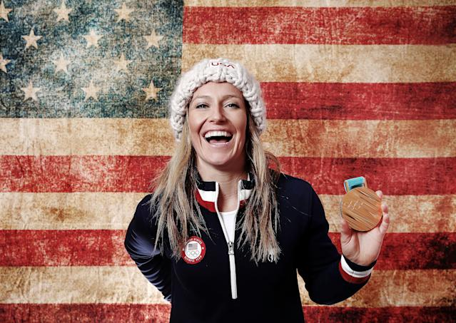 <p>Gold medalist in Ladies' Snowboard Slopestyle Jamie Anderson of the United States poses for a portrait on the Today Show Set on February 12, 2018 in Gangneung, South Korea. (Photo by Marianna Massey/Getty Images) </p>