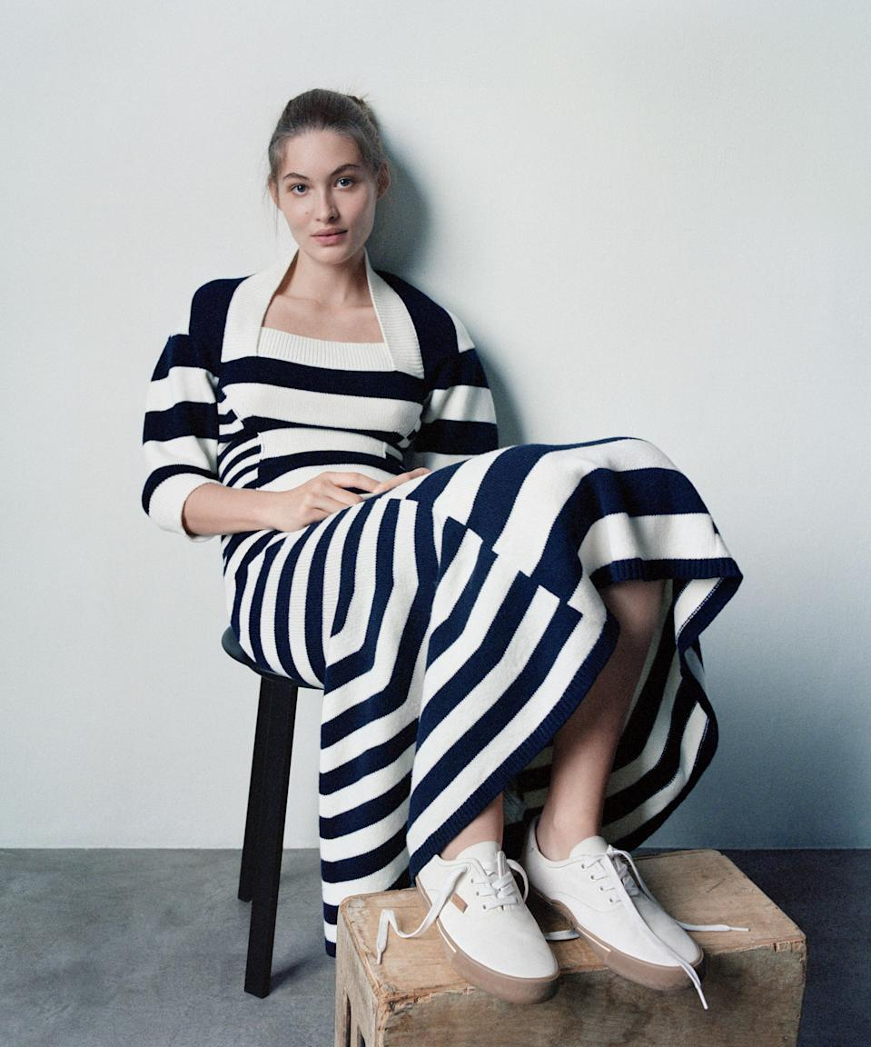"""<h1 class=""""title"""">LINE ITEMThe graphic print and considered silhouette of an Alexander McQueen knit dress ($1,970; alexandermcqueen.com), anchored with a charming pair of Coach tennis shoes, present an altogether elevated approach to daywear.</h1><cite class=""""credit"""">Photographed by Jody Rogac, <em>Vogue</em>, January 2021</cite>"""