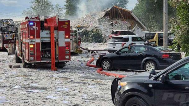 PHOTO: First responders at the scene of an explosion in Farmington, Maine, Sept. 16, 2019. (Jacob Gage/Facebook)