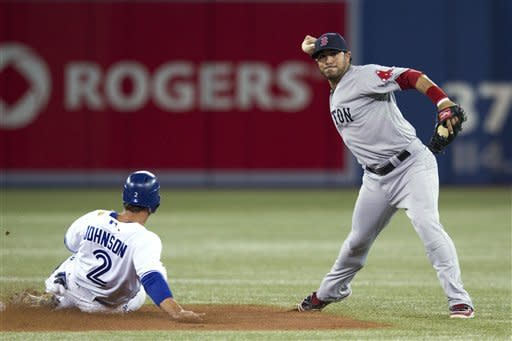 Boston Red Sox shortstop Mike Aviles throws to first after forcing out Toronto Blue Jays' Kelly Johnson on the first half of a double play during the first inning of a baseball game in Toronto on Monday, April 9, 2012. Jose Bautista was out at first. (AP Photo/The Canadian Press, Chris Young)