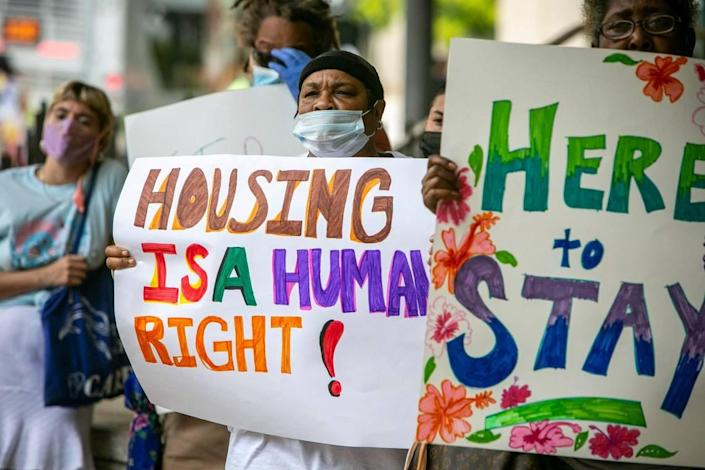 The Miami Workers Center held a rally on July 20, 2021, to demand policy changes to better protect renters from predatory landlords.