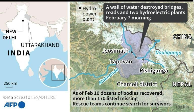 Map locating the two hydro-power plants buried by a torrent in India's Uttarakhand state, after a glacier fell into a river and caused flash flooding on February 7.