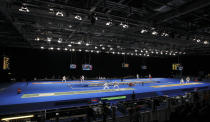 A general view of the Men's Individual Foil Fencing competition during an Olympic test event at the Excel centre in London November 26, 2011. REUTERS/Olivia Harris