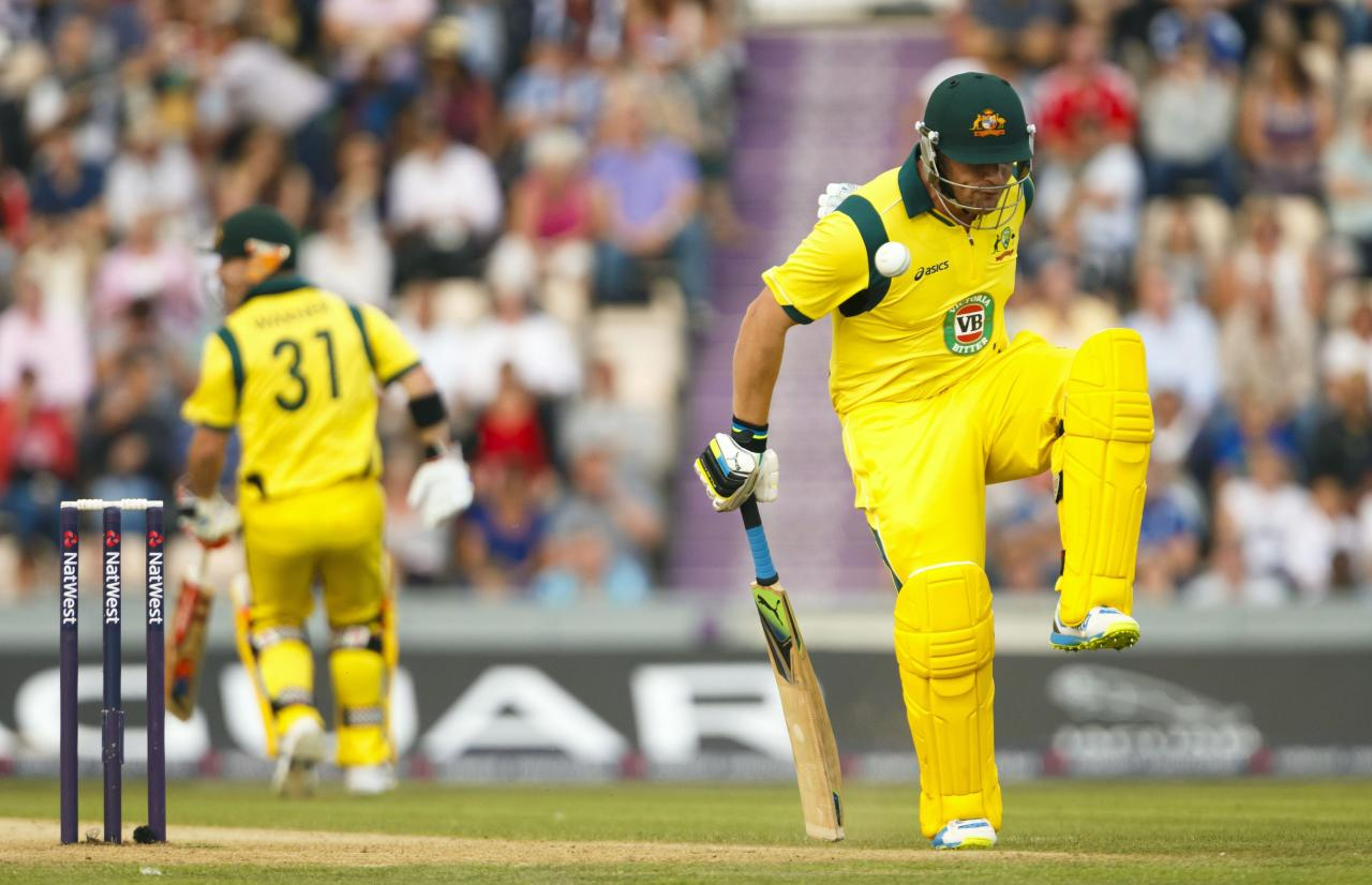 Australia's Aaron Finch is struck by the ball fielded by England's Jade Dernbach during the International Twenty20 match at the Ageas Bowl, Southampton.