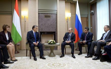 Russian President Vladimir Putin (3rd R) and Hungarian Prime Minister Viktor Orban (2nd L) attend a meeting at the Novo-Ogaryovo state residence outside Moscow, Russia, February 17, 2016. REUTERS/Alexei Nikolsky/Sputnik/Kremlin