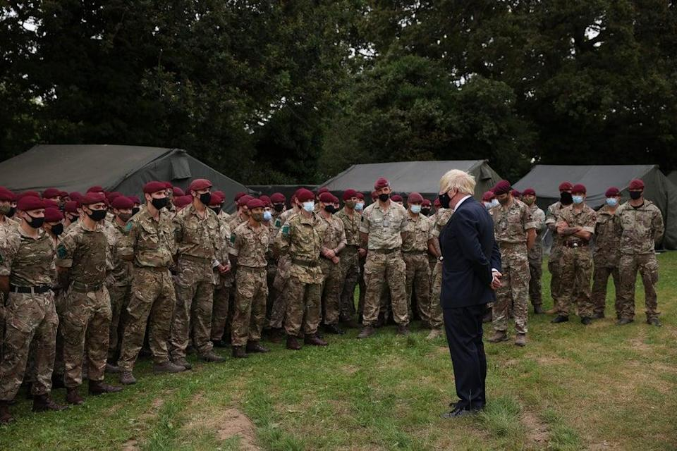 Prime Minister Boris Johnson meets members of 16 Air Assault Brigade at the Brigade Headquarters at Merville Barracks in Colchester, Essex, following their recent deployment to Afghanistan to enable the safe evacuation of British nationals and Afghans who worked alongside British forces and who had been given the right to settle in the UK (Dan Kitwood/PA) (PA Wire)