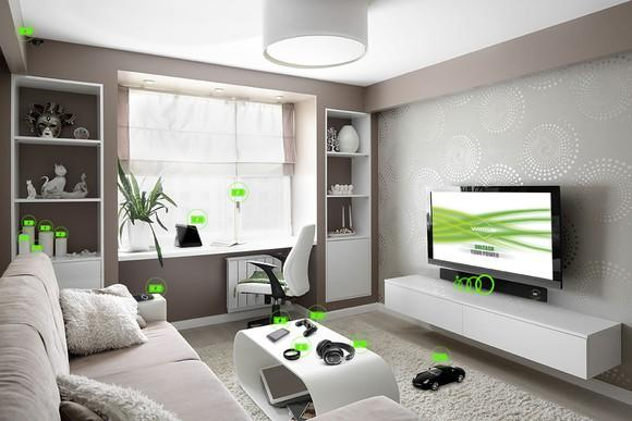Visualization of WattUp wirelessly charging electronic devices in a living room