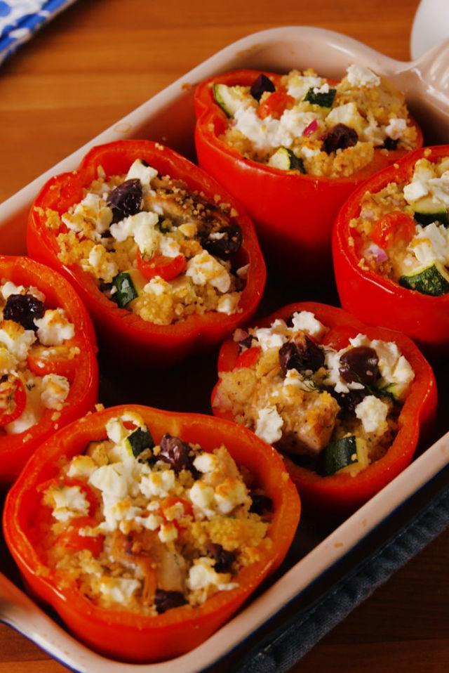 """<p>These are the prettiest peppers you'll ever make.</p><p>Get the recipe from <a rel=""""nofollow"""" href=""""http://www.delish.com/cooking/recipe-ideas/recipes/a53576/greek-stuffed-peppers-recipe/"""">Delish</a>.</p><p><a rel=""""nofollow"""" href=""""https://www.amazon.com/Creuset-Signature-Handle-Skillet-4-Inch/dp/B00B4UOTBQ?tag=syndication-20&&ascsubtag=delish.article.53576&tag=del-module-20"""">BUY NOW</a></p>"""