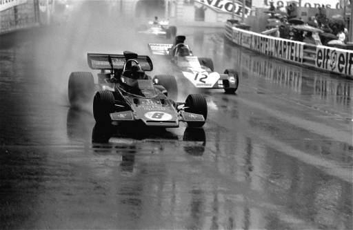 Brazilian Emerson Fittipaldi in his LOTUS-JPS Ford No. 8 followed by Andrea de Adamich of Italy in a Surtees Ford during the Grand Prix of Monaco May 14, 1972. (AP Photo/str)