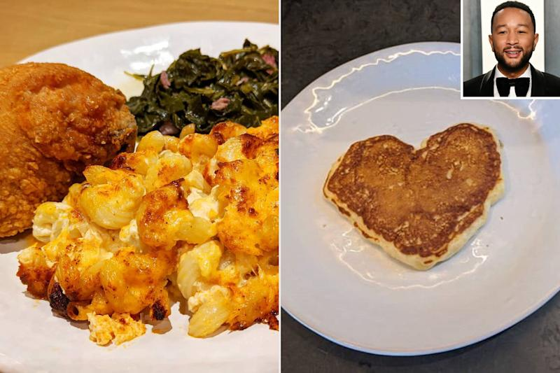 Fried Chicken and Heart Pancakes! John Legend Cooks a Valentine's Day Feast for His Family