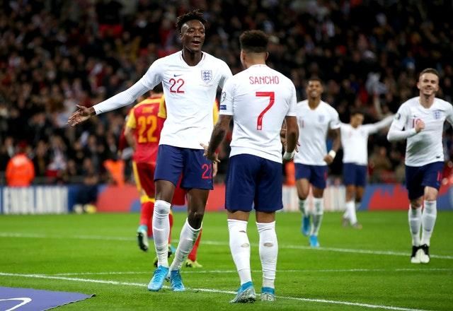 Tammy Abraham (left) and Jadon Sancho are available for the Belgium match