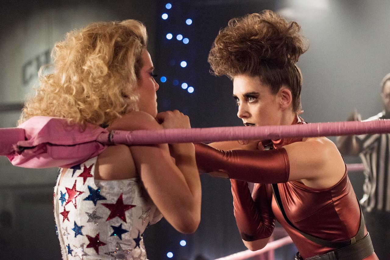 "<p>Although Debbie and Ruth start as best friends, their relationship quickly becomes contentious after the former learns about Ruth's affair with her husband in <a href=""https://www.popsugar.com/entertainment/Glow-Season-1-Recap-43671126"" class=""ga-track"" data-ga-category=""Related"" data-ga-label=""http://www.popsugar.com/entertainment/Glow-Season-1-Recap-43671126"" data-ga-action=""In-Line Links"">season one</a>. The tension reaches a breaking point when Debbie fractures Ruth's ankle in the ring. At this point, <a href=""https://www.popsugar.com/entertainment/GLOW-Season-2-Details-44710260"" class=""ga-track"" data-ga-category=""Related"" data-ga-label=""http://www.popsugar.com/entertainment/GLOW-Season-2-Details-44710260"" data-ga-action=""In-Line Links"">Debbie has been seriously stressed</a>, going through a divorce as a single mother and settling into her producer role for <strong>GLOW</strong>. And she's not thrilled about Ruth rejecting the network head's advances either, blaming her friend for the show getting moved to a dreaded 2 a.m. slot. </p> <p>The ladies are pretty mad at Debbie when she finally visits Ruth at the hospital. The two women eventually air out all their sh*t in a screaming match, and Debbie brings forward a peace offering with a pair of pants. </p>"