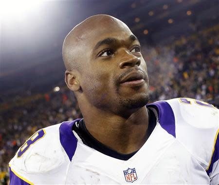 File photo of Minnesota Vikings Adrian Peterson after a season-ending loss to the Green Bay Packers in Green Bay