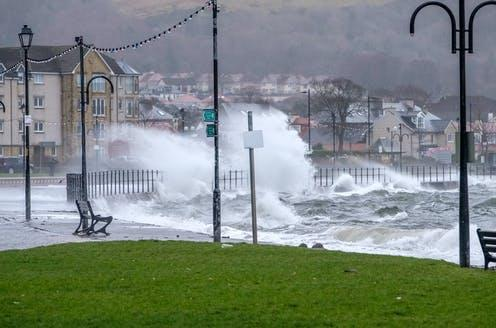 """<span class=""""caption"""">As the jet stream moves northwards, the UK can expect more storms and flooding in the winter.</span> <span class=""""attribution""""><a class=""""link rapid-noclick-resp"""" href=""""https://www.shutterstock.com/image-photo/largs-scotland-uk-february-08-2019-1307925253"""" rel=""""nofollow noopener"""" target=""""_blank"""" data-ylk=""""slk:James McDowall/Shutterstock"""">James McDowall/Shutterstock</a></span>"""