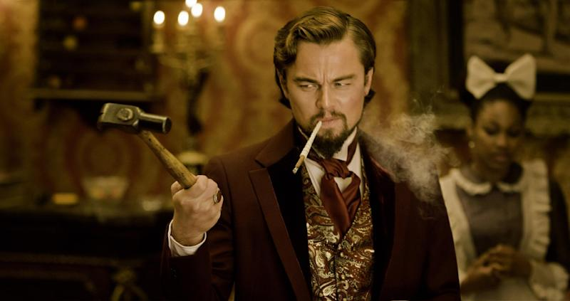 """FILE - This undated publicity file image released by The Weinstein Company shows Leonardo DiCaprio as Calvin Candle in """"Django Unchained,"""" directed by Quentin Tarantino. (AP Photo/The Weinstein Company, Andrew Cooper, SMPSP, File)"""