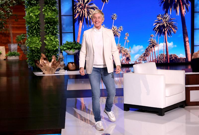 """In this photo released by Warner Bros., a taping of """"The Ellen DeGeneres Show"""" is seen at the Warner Bros. lot in Burbank, Calif."""