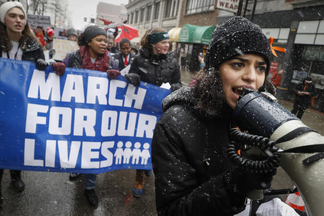 "<p>Organizer Rasleen Krupp, 17, Wyoming High School, leads a ""March for Our Lives"" protest for gun legislation and school safety in Cincinnati, Ohio. (AP Photo/John Minchillo) </p>"