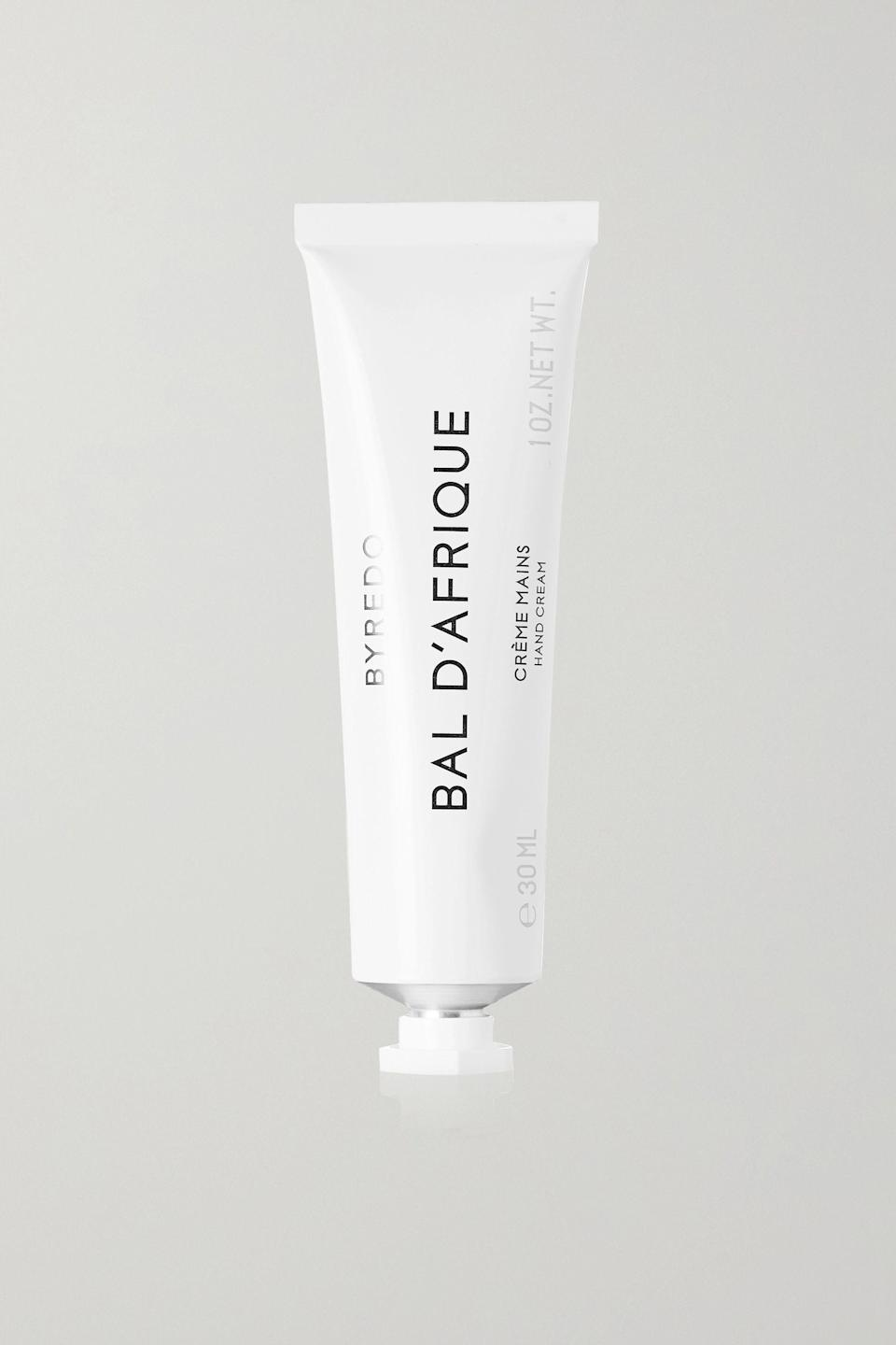 """<p><strong>Byredo</strong></p><p>net-a-porter.com</p><p><strong>$42.00</strong></p><p><a href=""""https://go.redirectingat.com?id=74968X1596630&url=https%3A%2F%2Fwww.net-a-porter.com%2Fen-us%2Fshop%2Fproduct%2Fbyredo%2Fbal-dafrique-hand-cream-30ml%2F529198&sref=https%3A%2F%2Fwww.harpersbazaar.com%2Ffashion%2Fg32447867%2Fbest-gifts-for-coworkers%2F"""" rel=""""nofollow noopener"""" target=""""_blank"""" data-ylk=""""slk:Shop Now"""" class=""""link rapid-noclick-resp"""">Shop Now</a></p><p>Upgrade your work wife with this elegant hand cream by Byredo. </p>"""
