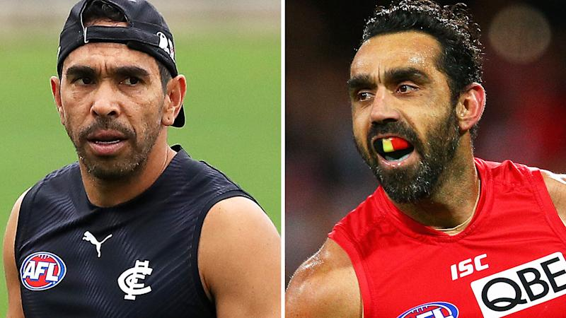 Eddie Betts has spoken about how he regrets not speaking up in defence of Adam Goodes, when the Sydney Swans star was enduring racially-motivated booing which ultimately led to his retirement. Pictures: Getty Images