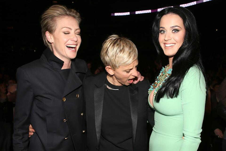 LOS ANGELES, CA - FEBRUARY 10:  (L-R) Actress Portia de Rossi, actress Ellen DeGeneres and singer Katy Perry attend the 55th Annual GRAMMY Awards at STAPLES Center on February 10, 2013 in Los Angeles, California.  (Photo by Christopher Polk/Getty Images for NARAS)