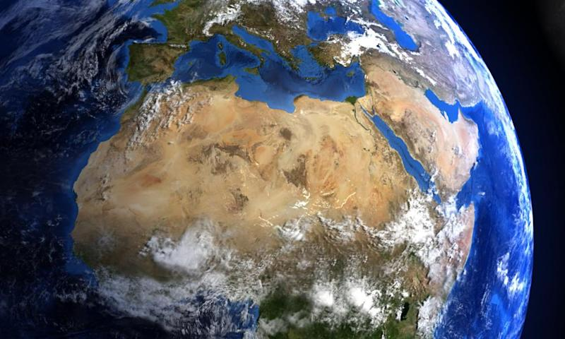 An image of the Earth centred on the Sahara.