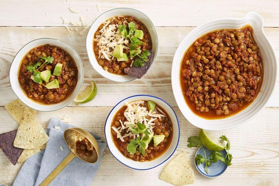 """<p>Pro tip: Make this chili with vegetable broth instead of chicken or beef so your vegetarian friends can eat it too. </p><p><em><a href=""""https://www.goodhousekeeping.com/food-recipes/a34131/chipotle-lentil-chili/"""" rel=""""nofollow noopener"""" target=""""_blank"""" data-ylk=""""slk:Get the recipe for Chipotle Lentil Chili »"""" class=""""link rapid-noclick-resp"""">Get the recipe for Chipotle Lentil Chili » </a></em><br></p><p><strong>RELATED:</strong> <a href=""""https://www.goodhousekeeping.com/holidays/thanksgiving-ideas/g22801470/vegetarian-thanksgiving-recipes/"""" rel=""""nofollow noopener"""" target=""""_blank"""" data-ylk=""""slk:20 Vegetarian Thanksgiving Recipes That Will Make You Forget All About Turkey"""" class=""""link rapid-noclick-resp"""">20 Vegetarian Thanksgiving Recipes That Will Make You Forget All About Turkey</a></p>"""