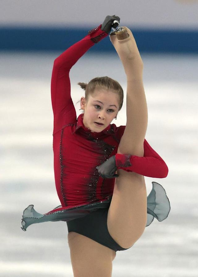 Julia Lipnitskaia of Russia competes in the women's team free skate figure skating competition at the Iceberg Skating Palace during the 2014 Winter Olympics, Sunday, Feb. 9, 2014, in Sochi, Russia